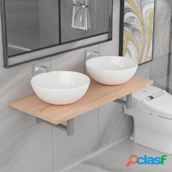 VidaXL - Conjunto de muebles de baño de tres piezas roble y