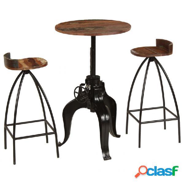 VidaXL - Conjunto de muebles de bar 3 piezas madera maciza