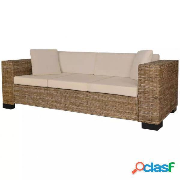VidaXL - Conjunto de sofá de 3 plazas ratán auténtico