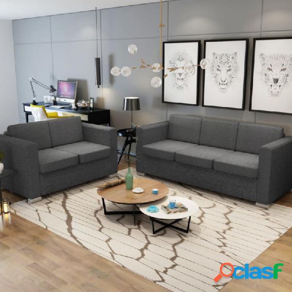 VidaXL - Conjunto de sofás 2 unidades tela gris oscuro Vida