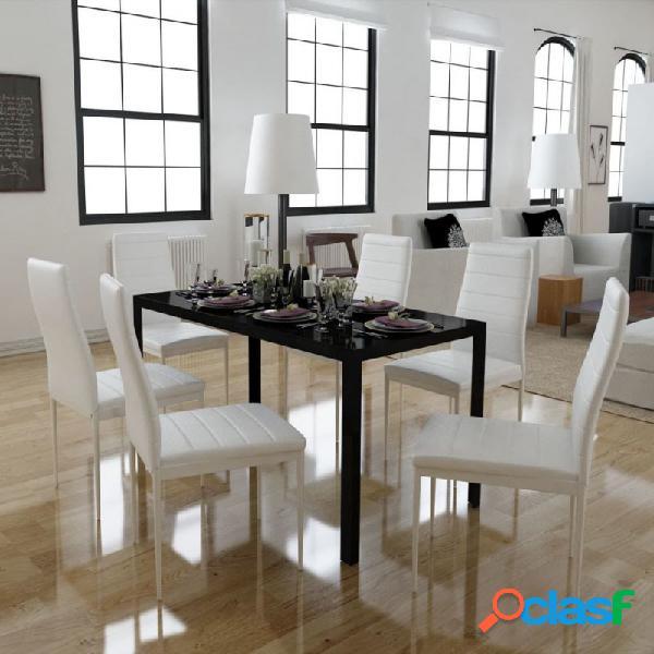 VidaXL - Conjunto deesa de comedor 7 piezas blanco y negro