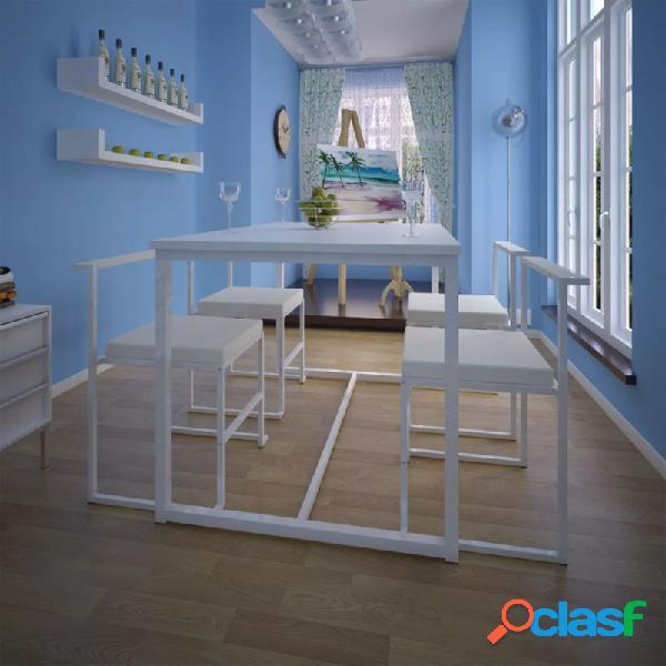 VidaXL - Conjunto deesa de comedor y sillas 5 piezas blanco