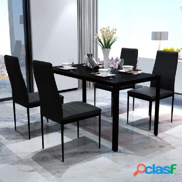VidaXL - Conjunto deesa y sillas de comedor 5 piezas negro