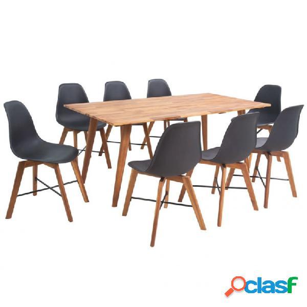 VidaXL - Conjunto muebles de comedor 9 piezas negro Vida XL