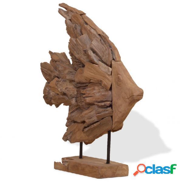 VidaXL - Escultura en forma de pez deadera de teca