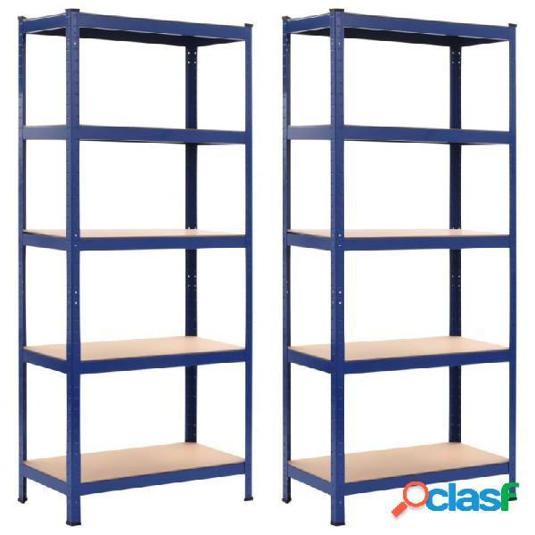 VidaXL - Estanterías 2 unidades azul 80x40x180 cm acero y