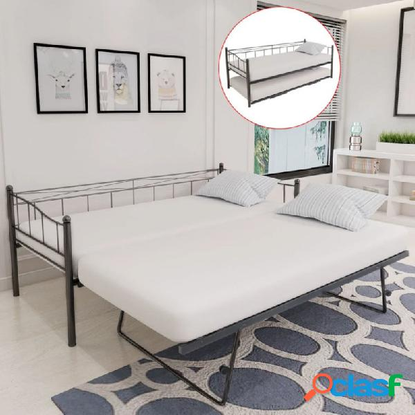 VidaXL - Estructura de cama de acero negra 180x200/90x200cm
