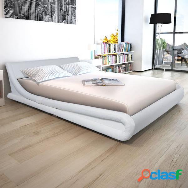VidaXL - Estructura de cama de cuero sintético blanco