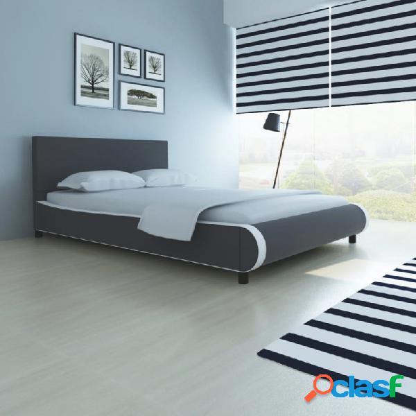 VidaXL - Estructura de cama de cuero sintético gris 140x200