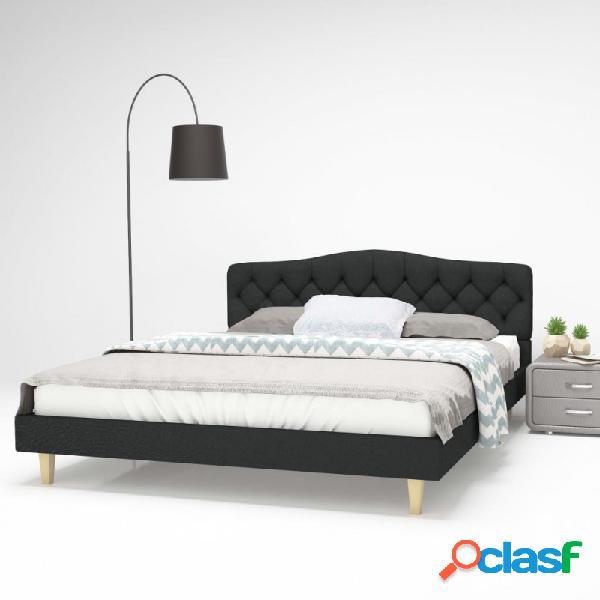 VidaXL - Estructura de cama de tela gris oscuro 160x200 cm