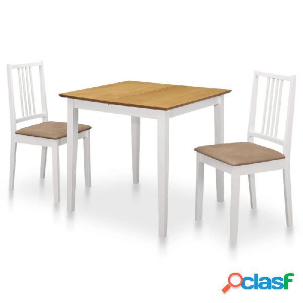 VidaXL - Juego de muebles de comedor 3 piezas MDF blanco
