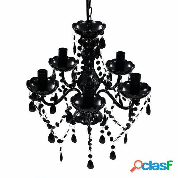 VidaXL - Lámpara de araña de cristal 5 bombillas negra