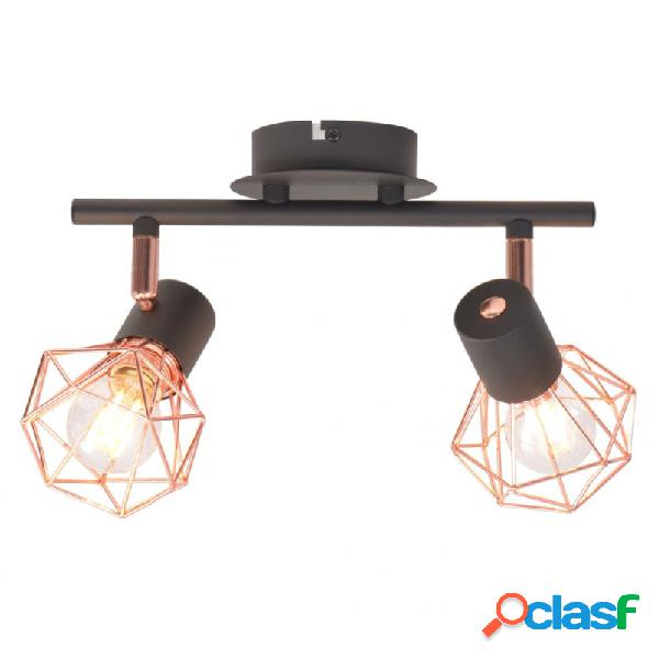 VidaXL - Lámpara de techo con 2 focos E14 negra y cobre