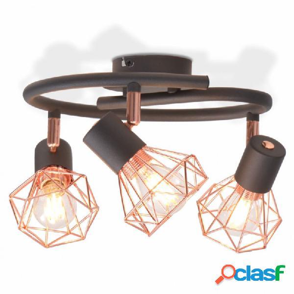 VidaXL - Lámpara de techo con 3 bombillas de filamento LED