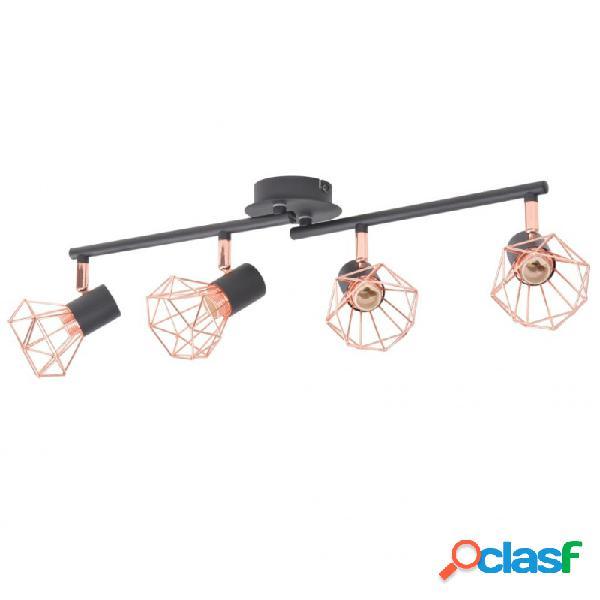 VidaXL - Lámpara de techo con 4 focos E14 negra y cobre