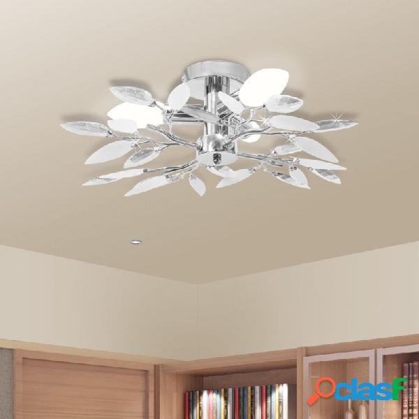 VidaXL - Lámpara de techo con brazos de cristal hojas