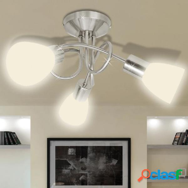 VidaXL - Lámpara de techo con pantallas de cristal para 3