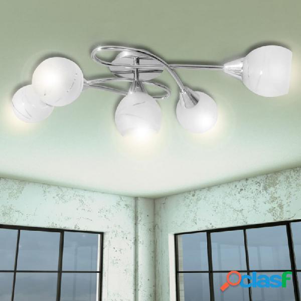 VidaXL - Lámpara de techo con pantallas de cristal para 5