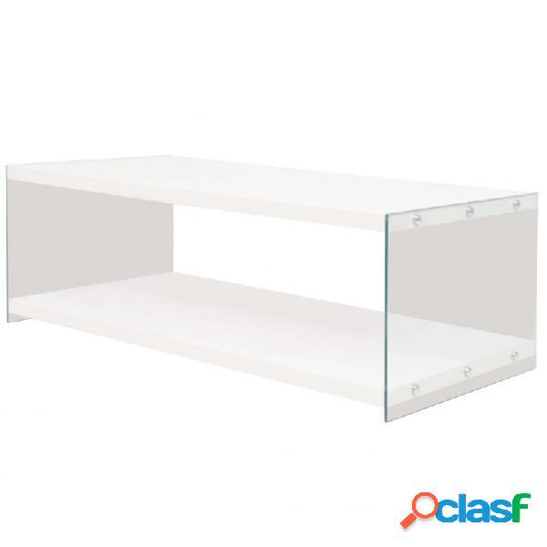 VidaXL - Mesa de centro con estante vidrio ymDF blanco