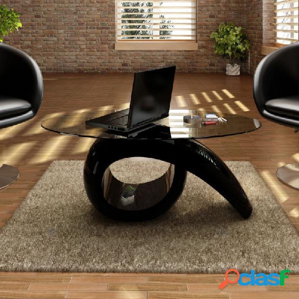 VidaXL - Mesa de centro superficie ovalada de vidrio negro