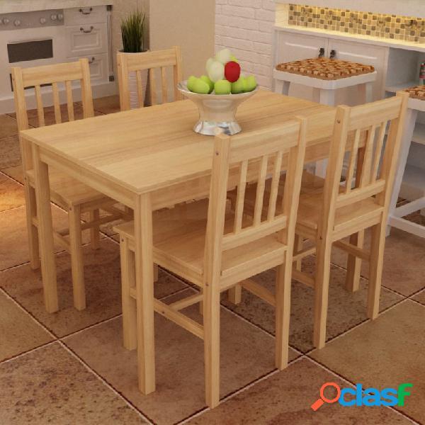 VidaXL - Mesa de comedor con 4 sillas demadera, color