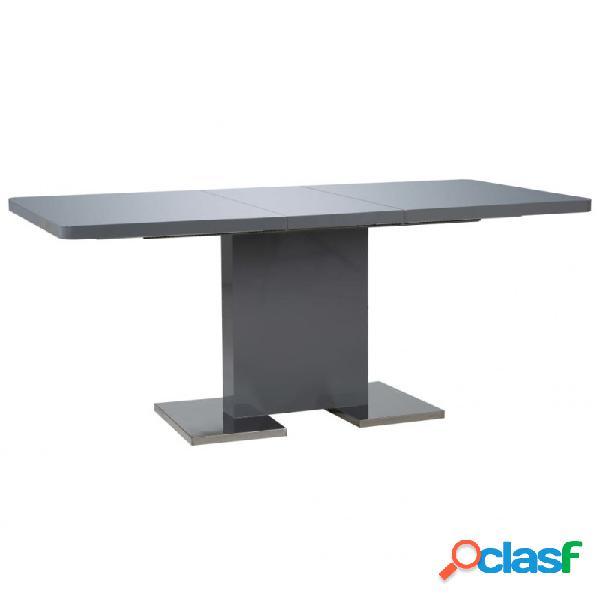 VidaXL - Mesa de comedor extensible gris brillante