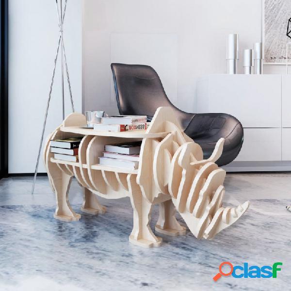 VidaXL - Mesa en forma de rinoceronte de madera con estante