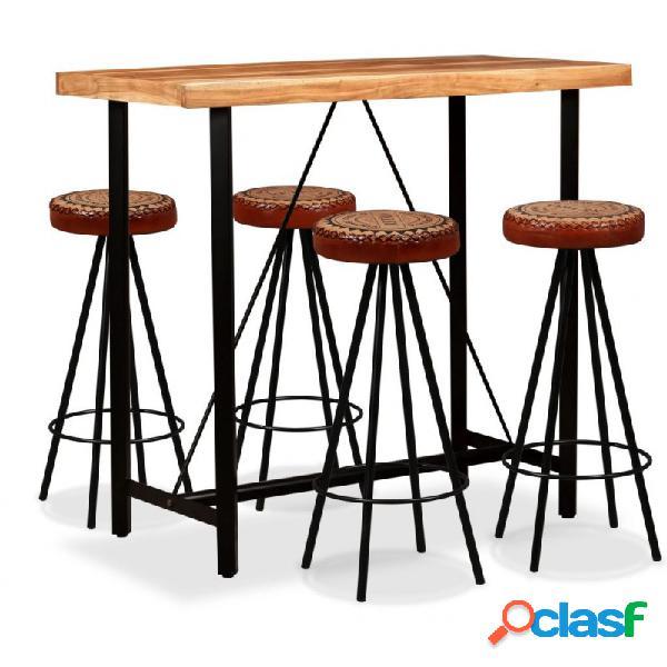 VidaXL - Mesa y 4 taburetes bar madera maciza sheesham cuero