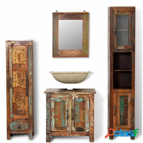 VidaXL - Mueble de baño demadera reciclada con espejo y dos