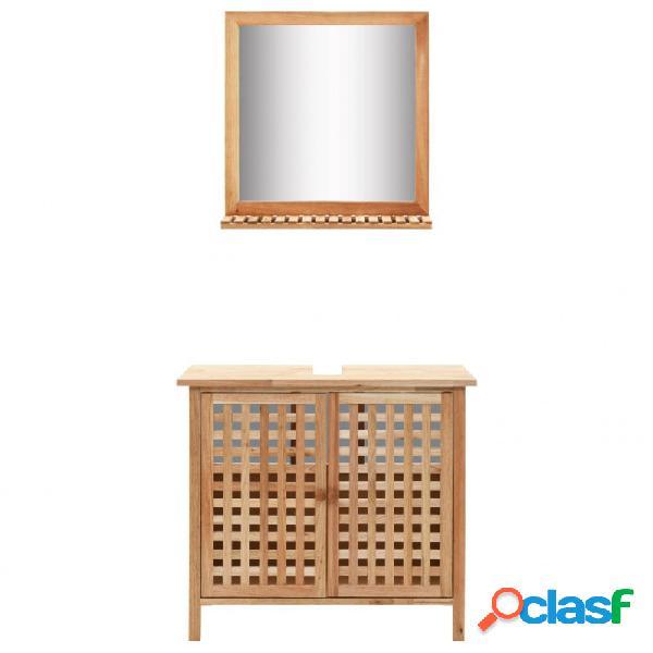 VidaXL - Mueble de lavabo con espejo demaderamaciza de nogal
