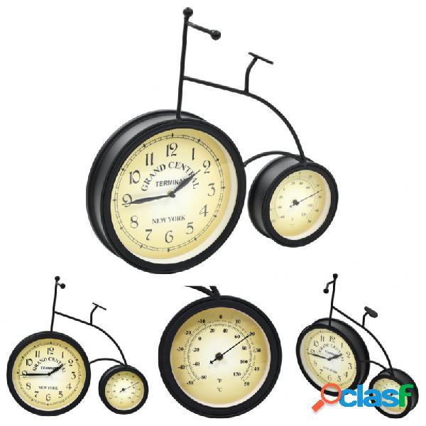 VidaXL - Reloj de pared de jardín con termómetro forma