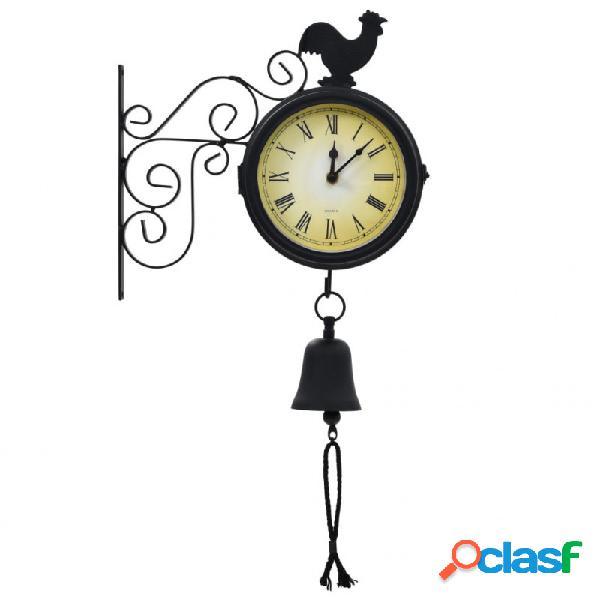 VidaXL - Reloj de pared de jardín con termómetro vintage