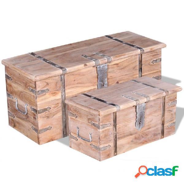 VidaXL - Set de baúl de almacenamiento deadera de acacia 2