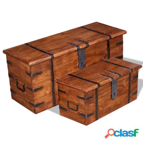 VidaXL - Set de baúl de almacenamiento deaderaaciza 2