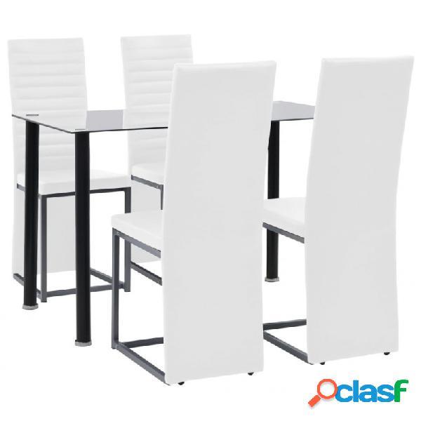 VidaXL - Set de comedor 5 piezas acero y vidrio templado
