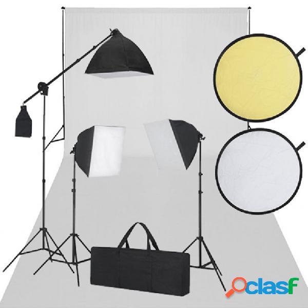 VidaXL - Set de estudio fotográfico blanco y negro Vida XL