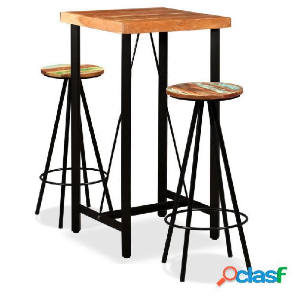 VidaXL - Set de muebles de bar 3 piezas sheesham y madera