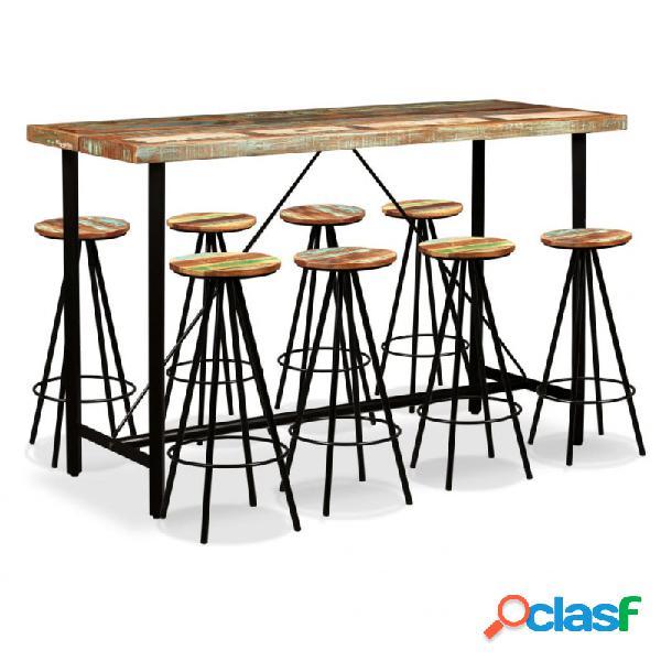 VidaXL - Set muebles de bar 9 piezas madera maciza reciclada