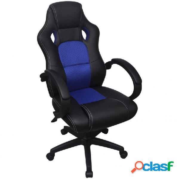 VidaXL - Silla de Oficina Ejecutiva de Carreras Azul Cuero