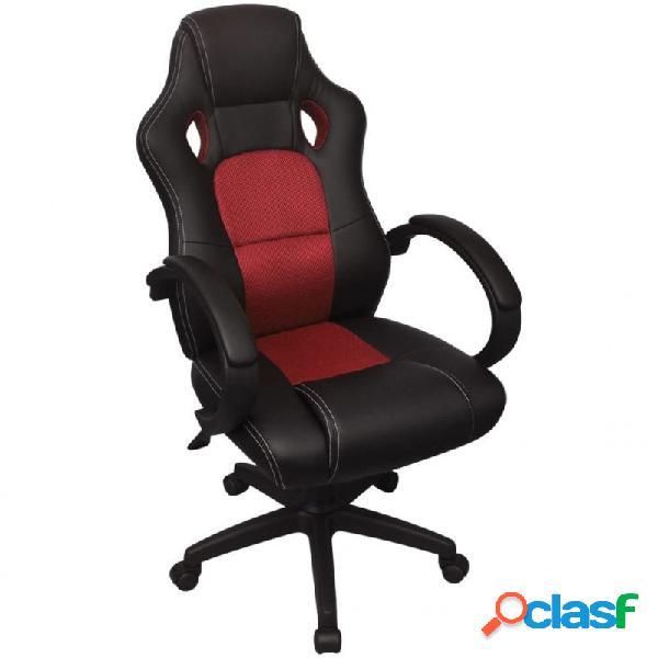 VidaXL - Silla de Oficina Ejecutiva de Carreras Rojo Cuero