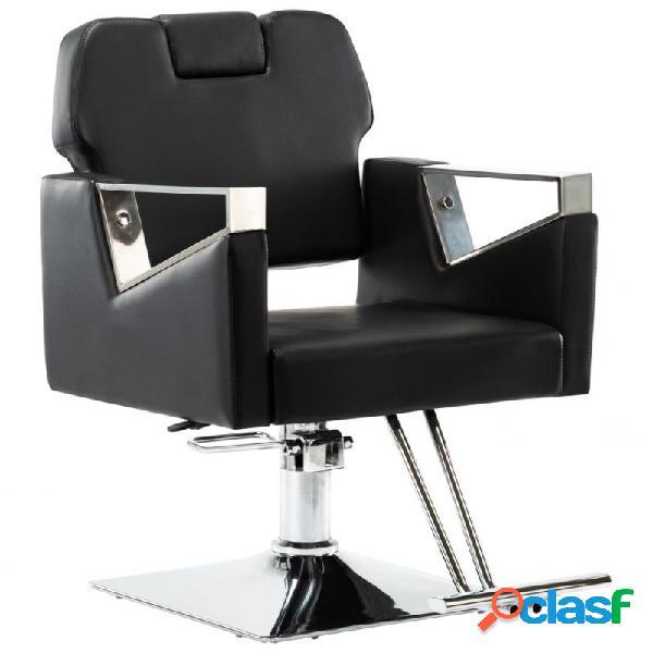VidaXL - Silla de peluquería con reposacabezas cuero