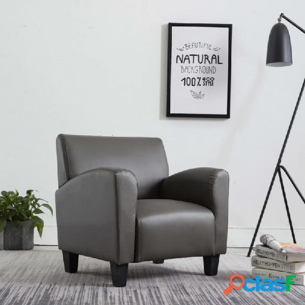 VidaXL - Sillón de cuero sintético gris Vida XL