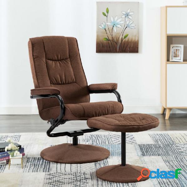 VidaXL - Sillón reclinable con reposapiés de telamarrón