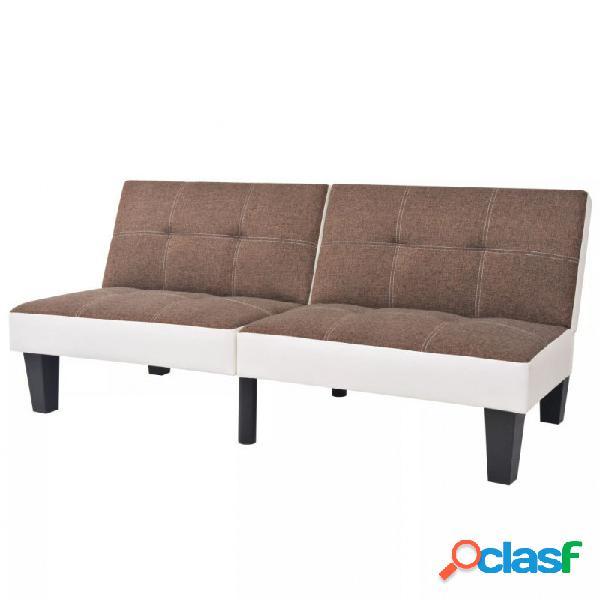 VidaXL - Sofá cama de tela y PVC ajustablemarrón y blanco
