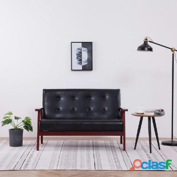 VidaXL - Sofá de 2 plazas cuero sintético negro Vida XL