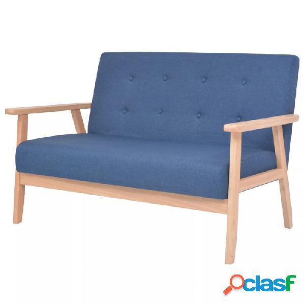 VidaXL - Sofá de 2 plazas de tela azul Vida XL