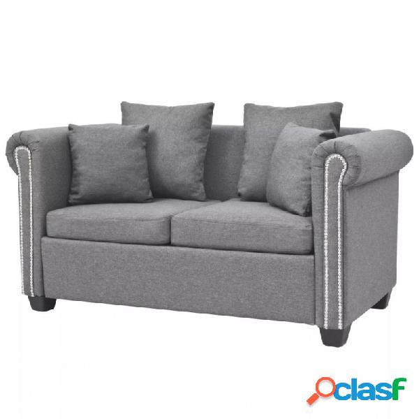 VidaXL - Sofá de 2 plazas de tela gris claro 143x75x73cm