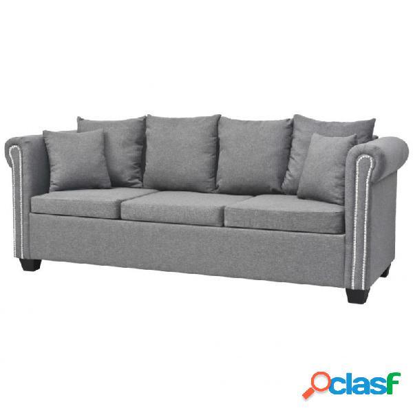 VidaXL - Sofá de 3 plazas de tela gris claro 200x75x73cm