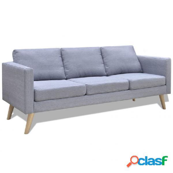 VidaXL - Sofá de 3 plazas de tela gris claro Vida XL