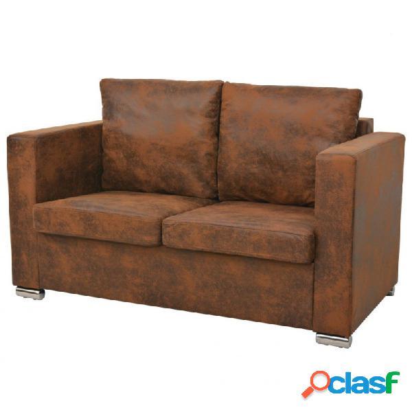 VidaXL - Sofa de 2 plazas 137x73x82cm piel de ante